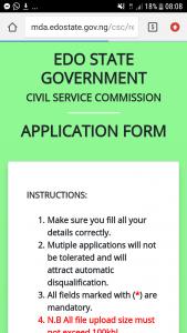 Edo state civil service commission recruitment portal form
